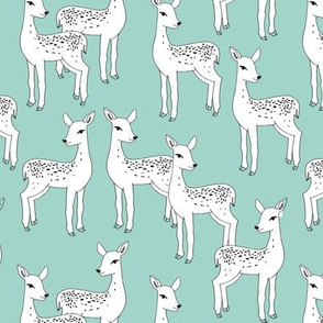 Fawn - White on Pale Turquoise by Andrea Lauren