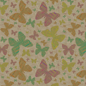 Floating Flowers on Beige Static Weave