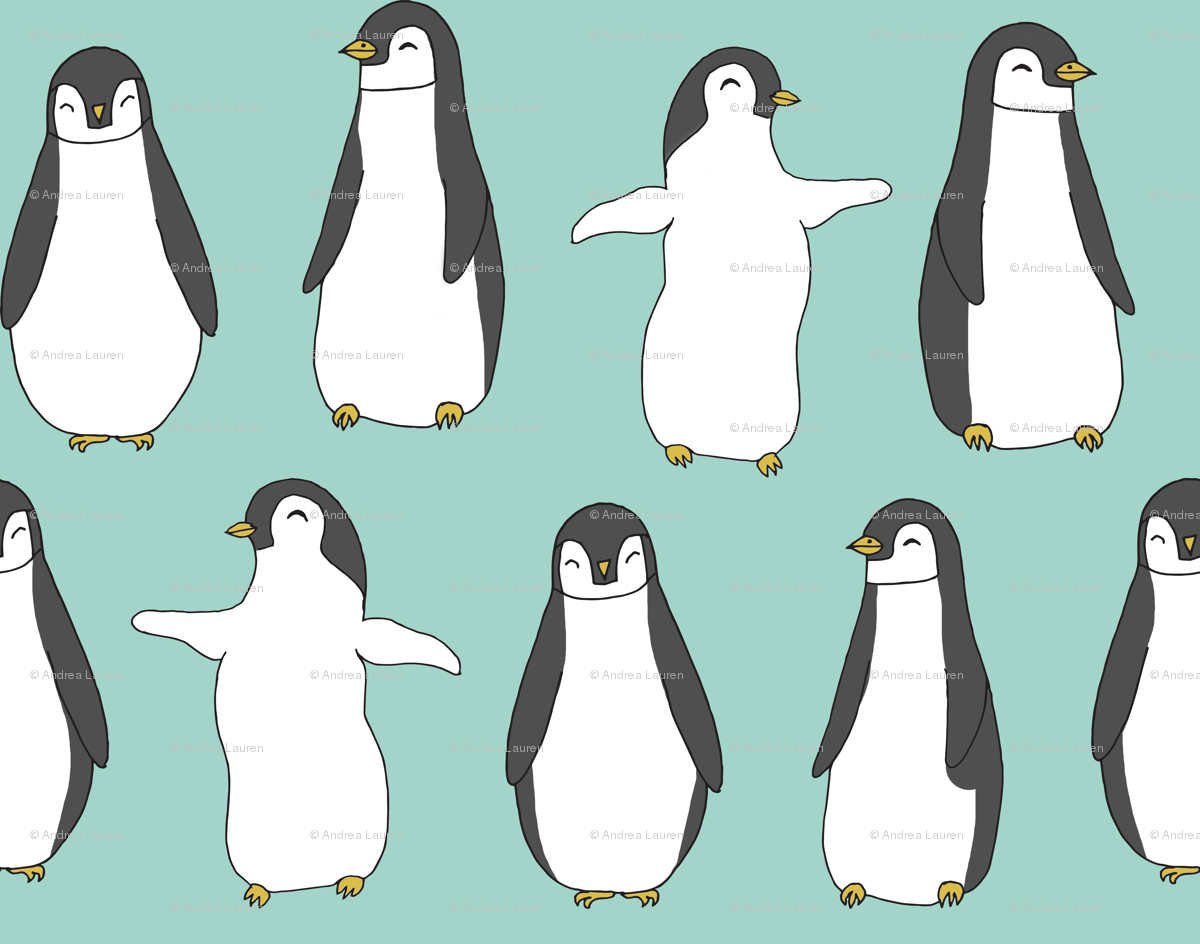 penguin // penguins pingu aqua mint winter birds fabric cute baby ...