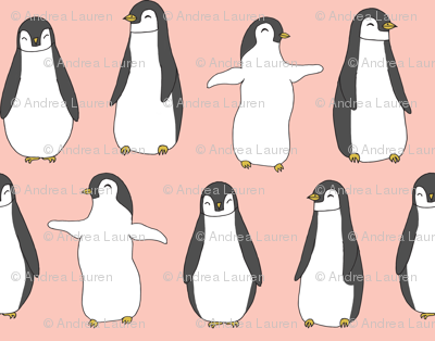 penguin // baby penguins pingu cute pink nursery baby fabric baby animals design