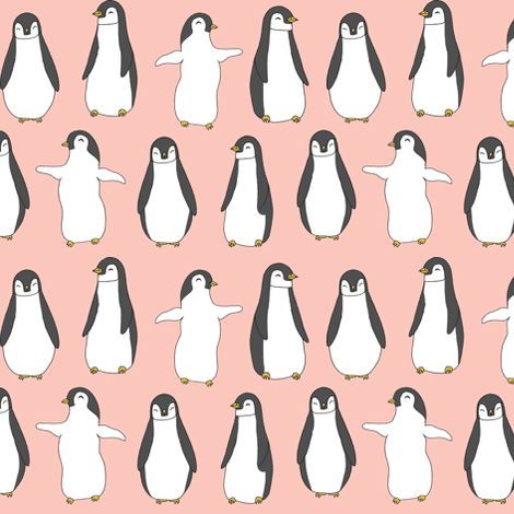 penguin // baby penguins pingu cute pink nursery baby fabric baby animals design fabric by andrea_lauren on Spoonflower - custom fabric