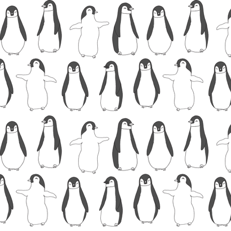 penguin // baby penguin pingu cute winter animals white nursery baby animals fabric fabric by andrea_lauren on Spoonflower - custom fabric
