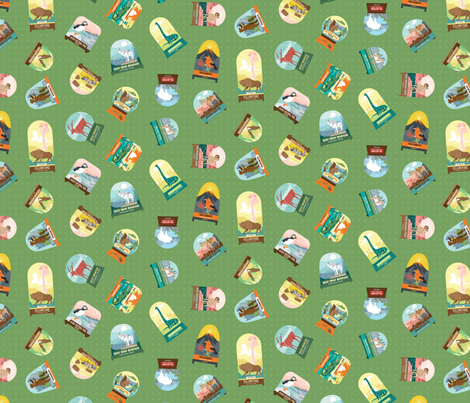 National Parks Snowdomes Small Scatter in Forest Green fabric by pinkowlet on Spoonflower - custom fabric
