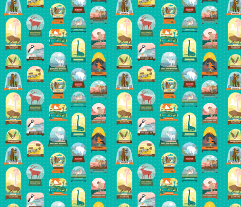 National Parks Snow Domes in Teal fabric by pinkowlet on Spoonflower - custom fabric