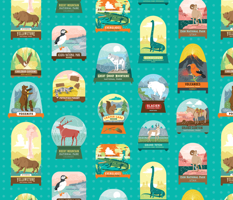 National Parks Snowdomes BIG Teal fabric by pinkowlet on Spoonflower - custom fabric