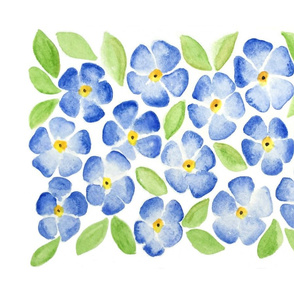Blue Flowers Watercolor