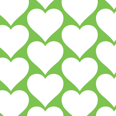 white_hearts_on_green fabric by edie_martin on Spoonflower - custom fabric