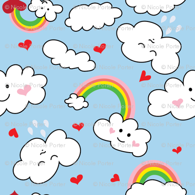Kawaii Hearts, Rainbows, and Clouds in Blue