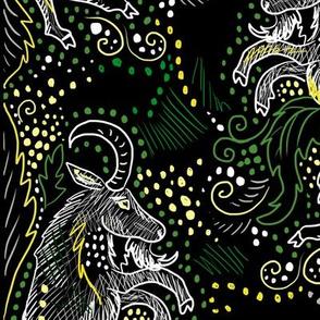 midnight goat damask