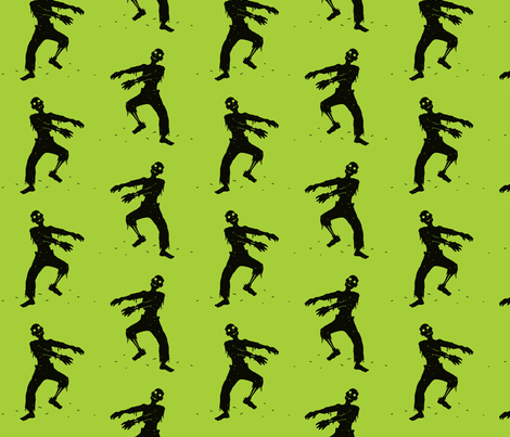 Green Zombie Pattern fabric by ophelia on Spoonflower - custom fabric