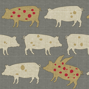 When Pigs Fly Tweed with Red Dots