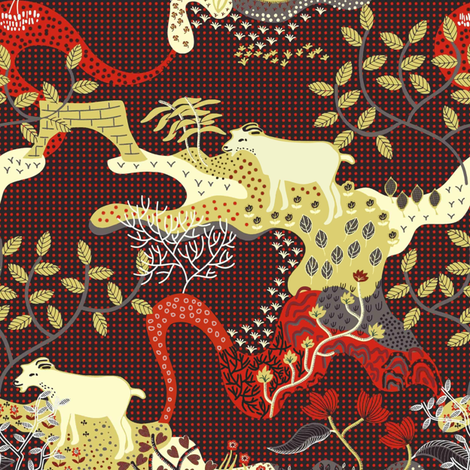 Goats in Landscape fabric by susan_polston on Spoonflower - custom fabric
