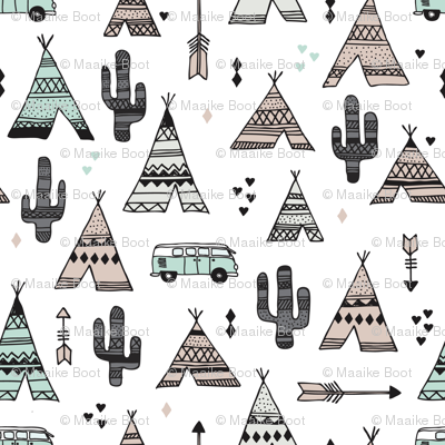 geometric happy camper van indian summer aztec arrows teepee and cactus illustration print in black white pastel baige and mint summer textiles