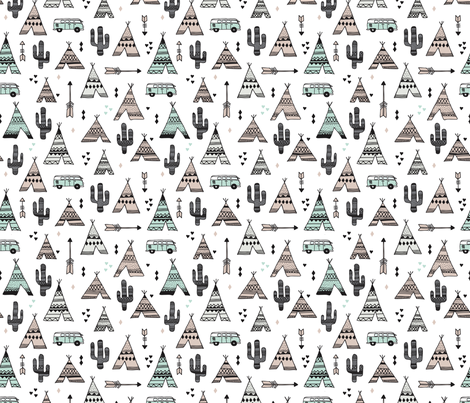 geometric happy camper van indian summer aztec arrows teepee and cactus illustration print in black white pastel baige and mint summer textiles fabric by littlesmilemakers on Spoonflower - custom fabric