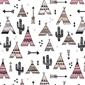 geometric indian summer aztec arrows teepee and cactus illustration print in black white pastel baige and pink for girls summer textiles