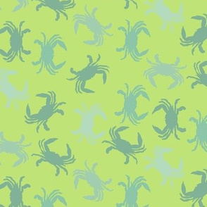 Crabs on Lime Colored Background