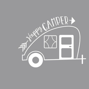 Happy Camper Trailer - Gray
