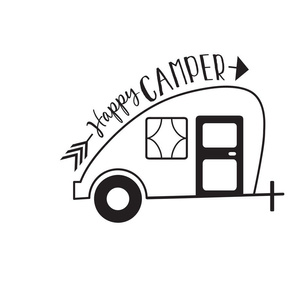 Happy Camper Trailer - Black