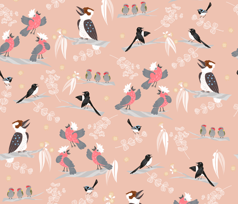 Aussie Bush Acapella - Pink fabric by pinky_wittingslow on Spoonflower - custom fabric