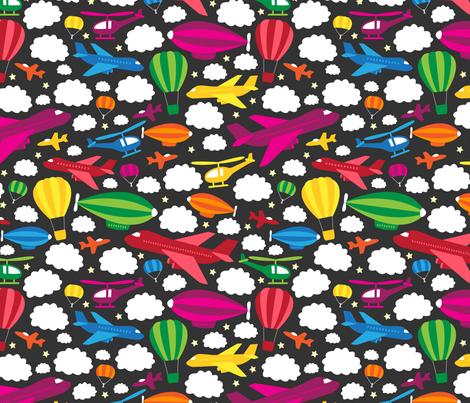 Fantastic Flying Machines (Rainbow) fabric by robyriker on Spoonflower - custom fabric