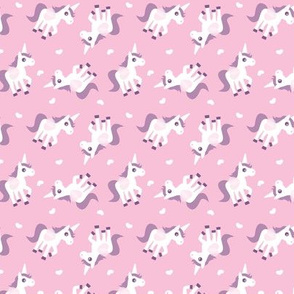 Cute pink unicorn horse illustration design tossed animal print