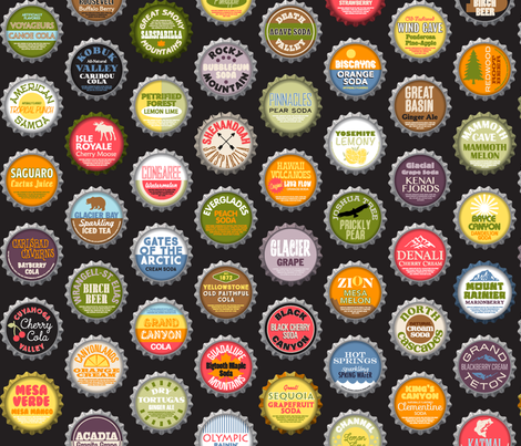 Soda Nation (2-liter Cola) || bottlecap bottle cap national park America United States nps polka dots typography cola travel summer food drink vacation fabric by pennycandy on Spoonflower - custom fabric