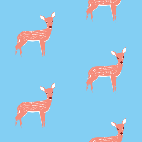 Fawn on Light Blue Background fabric by amyperrotti on Spoonflower - custom fabric