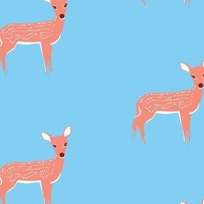 Fawn on Light Blue Background