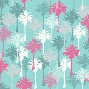 Palm Trees in Teal, Gray, White & Pink