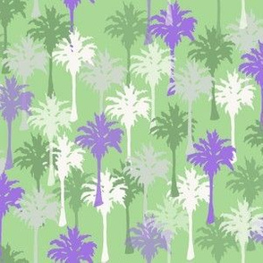 Palm Trees in Green, Purple, White and Gray