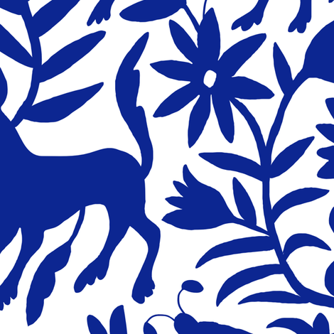 Mexican Otomi Animals - Large Navy fabric by jadefrolics on Spoonflower - custom fabric