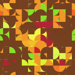 Retro Brown Green Orange Geometric