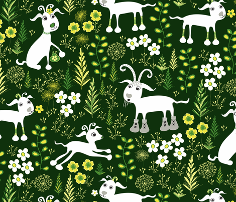 The Goats fabric by jill_o_connor on Spoonflower - custom fabric