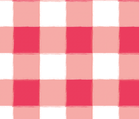 Large Watermelon Buffalo Check Gingham fabric by sugarfresh on Spoonflower - custom fabric