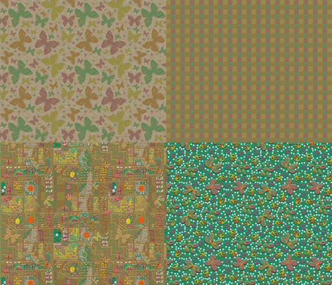 Floating Flowers Coordinating Fat Quarters fabric by anniedeb on Spoonflower - custom fabric