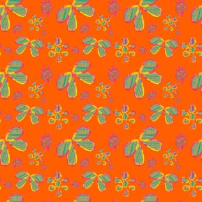 Floating Flowers on Orange