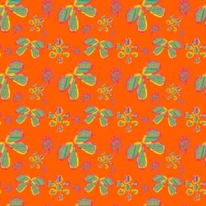 Floating Flowers on Orange