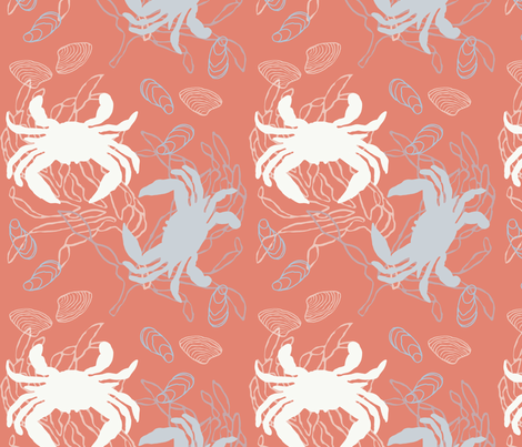Crabs in Baby Blue & White on Orange with Clams fabric by lauriekentdesigns on Spoonflower - custom fabric