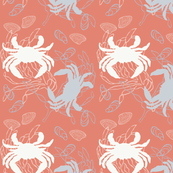 Crabs in Baby Blue & White on Orange with Clams
