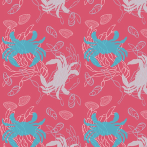 Blue & Gray Crabs on Cherry Pink with Shells & Kelp