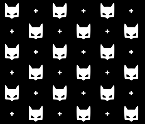 batmask + LG white black fabric by misstiina on Spoonflower - custom fabric