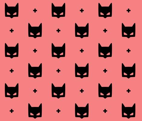 batmask + LG black coral fabric by misstiina on Spoonflower - custom fabric