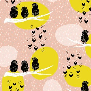 Silhouette Finches - Peach