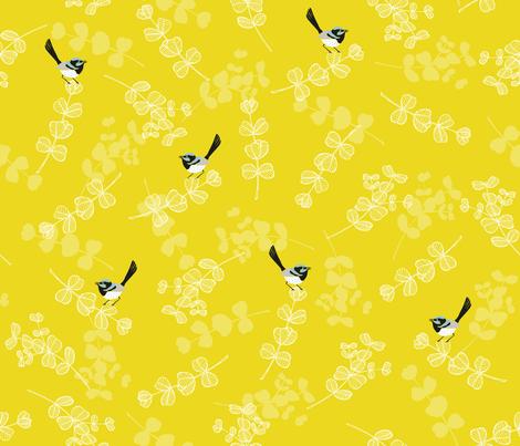 Blue Wrens - Sulphur fabric by pinky_wittingslow on Spoonflower - custom fabric