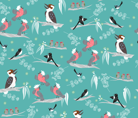 Aussie Bush Acapella - Teal fabric by pinky_wittingslow on Spoonflower - custom fabric