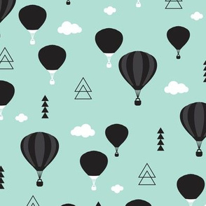 Geometric black and white hot air balloon triangle sky illustration scandinavian mint sky clouds style fabric
