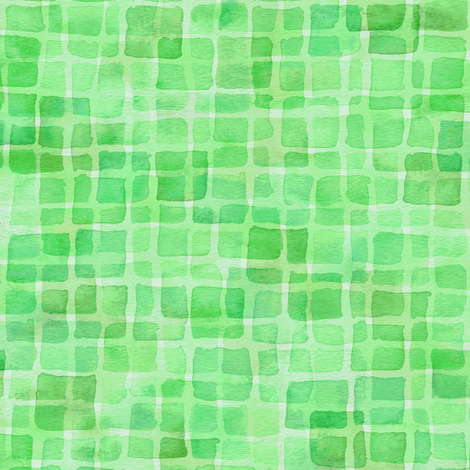 double watercolor squares in green fabric by weavingmajor on Spoonflower - custom fabric