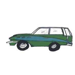 vintage green wagon - Large