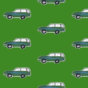 vintage green wagon - Medium-Forest