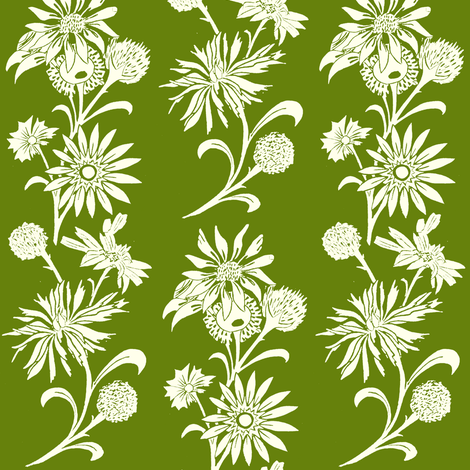 Stylized Floral in Green fabric by carrie_narducci on Spoonflower - custom fabric